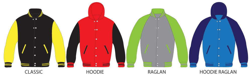 Styles of varsity jackets