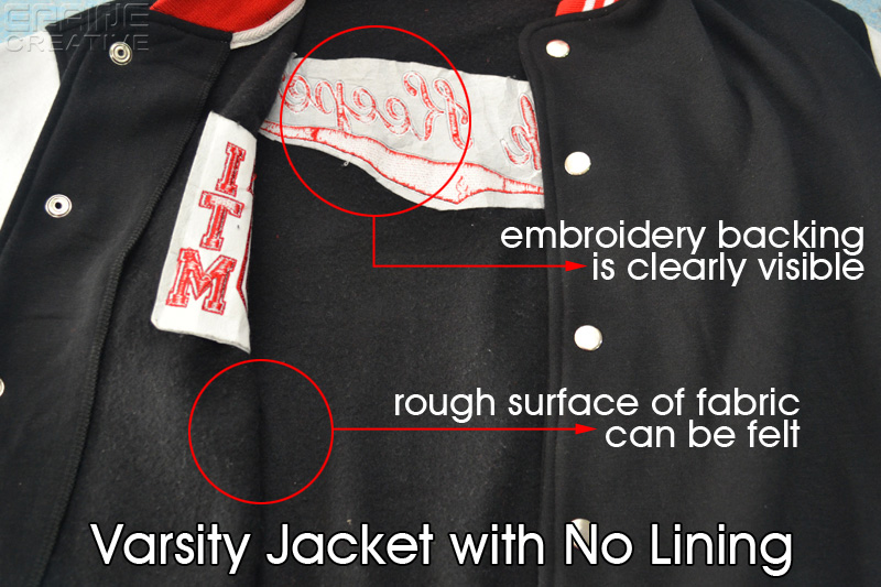 Varsity jacket with no lining