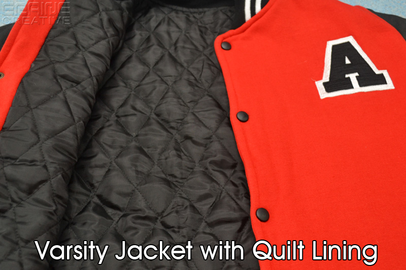 Varsity jacket with quilt lining